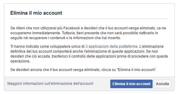 Cencellarsi da Facebook